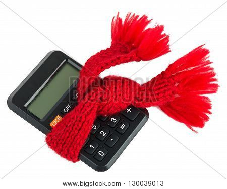 Calculator wearing scarf, isolated on white background