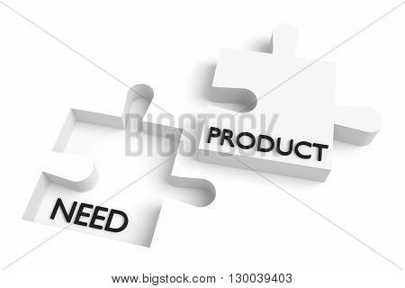 Missing puzzle piece need and product white, 3d illustration