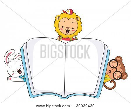 Illustration of a Book with Cute Little Animals Peeking from the Corners