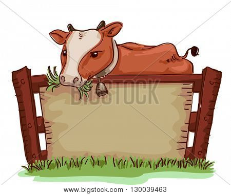 Board Illustration of a Cow Chewing Grass