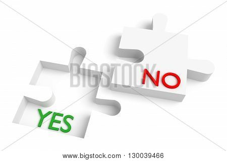 Missing puzzle piece yes or no red and green, 3d illustration