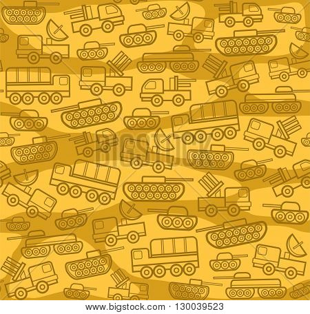 Vector seamless background with military equipment on field with yellow spots. Brown, linear icons. Color, flat pattern.