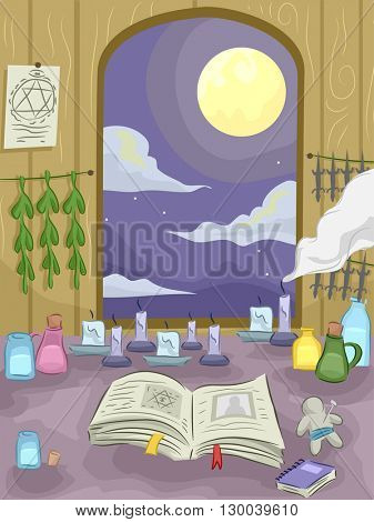 Illustration Featuring the Interior of the Room of a Witch