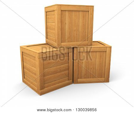 Three wooden boxes isolated on white 2