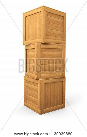 Pony of three wooden boxes isolated on white