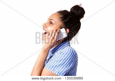 Young Woman Laughing And Talking On Cellphone