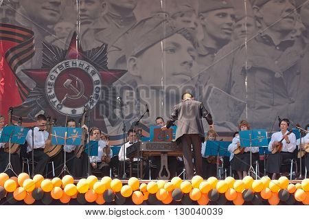 Kyiv, Ukraine - May 8, 2009: Orchestra plays during Victory Day celebration at the Museum of The History of Ukraine in World War II in Kyiv