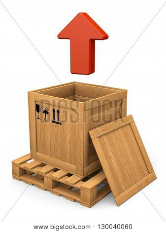 Extract concept. Open wooden box witn lid on pallet. Red arrow. Isolated on white.