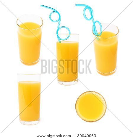 Tall glass filled with the orange juice and curved blue plastic drinking straw inside composition isolated over the white background, set of different foreshortenings