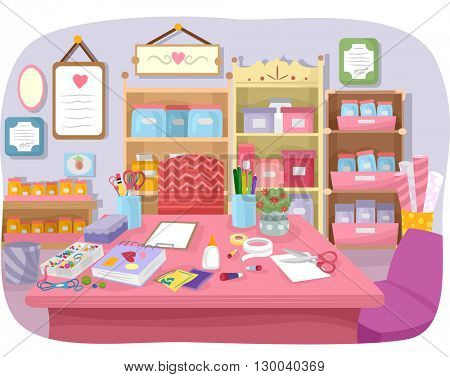 Colorful Illustration of a Craft Room