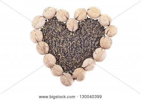 Green Tea And Walnuts Heart