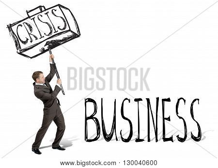 Crisis hit business. Businessman with drawn hammer. White background