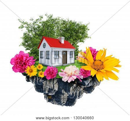 House with tree and flowers stands on flying island. Real estate concept. 3D rendering