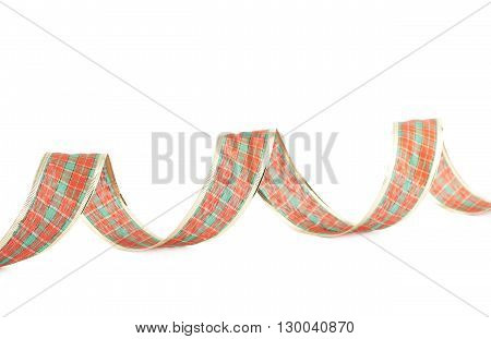 Christmas red, golden and green stripe decoration tape isolated over the white background