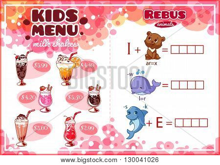 Kids Menu for milk shakes with rebus game. Different cocktails. Template menu A4 size horizontal orientation.
