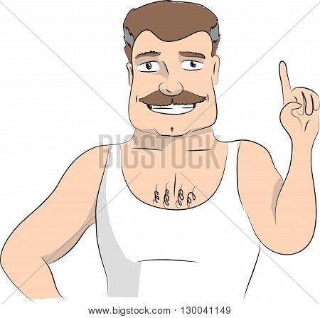 Man making attention gesture with forefinger. Vector illustration on white background.