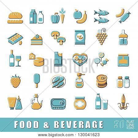 Collection of food and beverage icons. Set of flat line foodstuffs. Vector illustration.