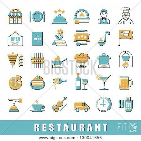 Premium quality kitchen and restaurant icons. Collection of flat line food and beverage icons. Vector illustration.