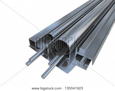 Black metal pipes, angles, channels, squares on white background. 3D rendering