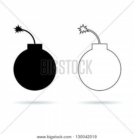 bomb set illustration in black and white color