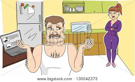 An vector image of a angry woman and her husband