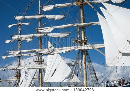SOCHI, RUSSIA - 16 MAY, 2014. Masts  of the Russian  frigate Nadezhda. Large sailing ships in the port of Sochi.