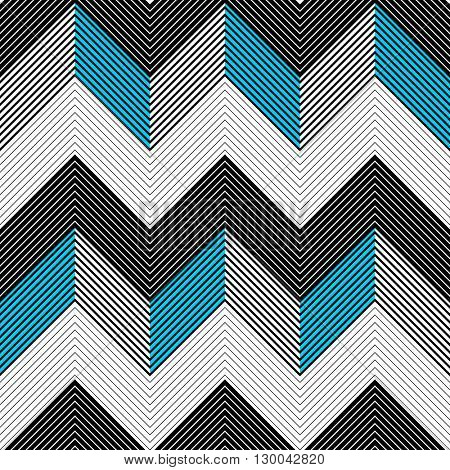 Seamless Zig Zag Pattern. Abstract  Black and Blue Background. Vector Chevron Texture