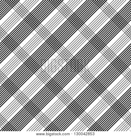 Seamless Tartan Pattern. Vector Black and White Background. Abstract Stripe and Line Wallpaper. Monochrome Plaid Ornament