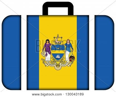 Flag Of Philadelphia, Pennsylvania. Suitcase Icon, Travel And Transportation Concept