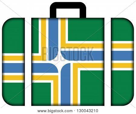 Flag Of Portland, Oregon. Suitcase Icon, Travel And Transportation Concept