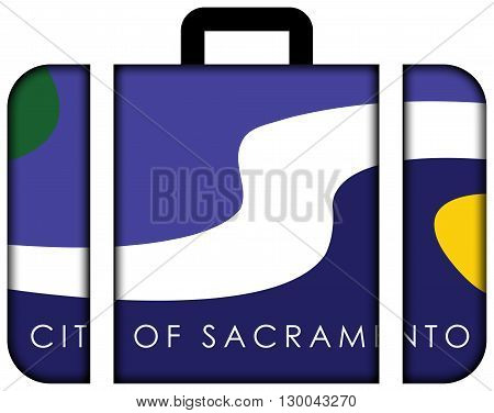 Flag Of Sacramento, California. Suitcase Icon, Travel And Transportation Concept