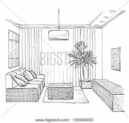 Hand drawn room interior. Sofa and furniture sketch.