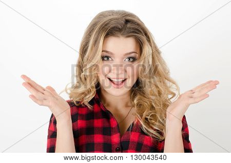 Portrait Of Young Beautiful Woman Raised Hands