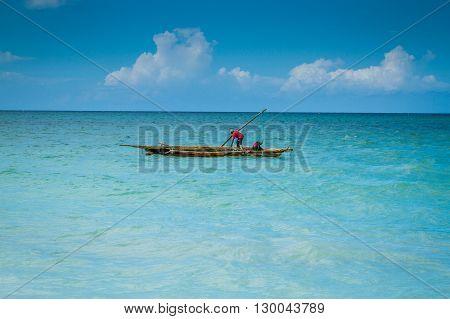 Shot of fishermen on a dhow Zanzibar Island