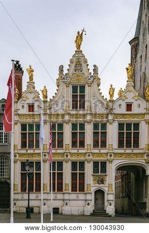 Old Civil Registry on Burg square in Bruges Belgium