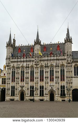 Gothic bruges town hall on Burg square Belgium