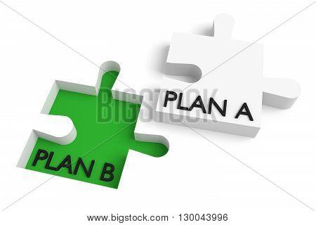 Missing puzzle piece plan a plan b green, 3d illustration
