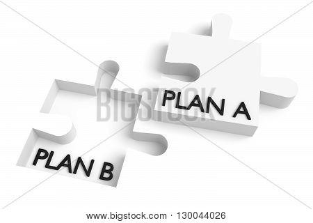 Missing puzzle piece plan a plan b white, 3d illustration