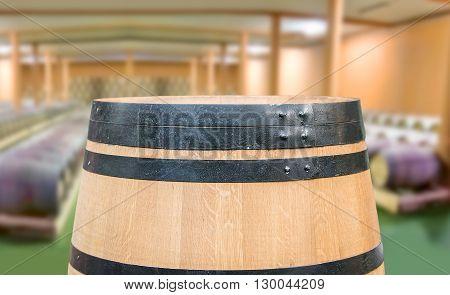 Closeup of wine barrels at a wine distillery