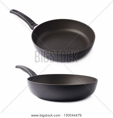 Black metal frying pan with a handle, isolated over the white background, set of two different foreshortenings