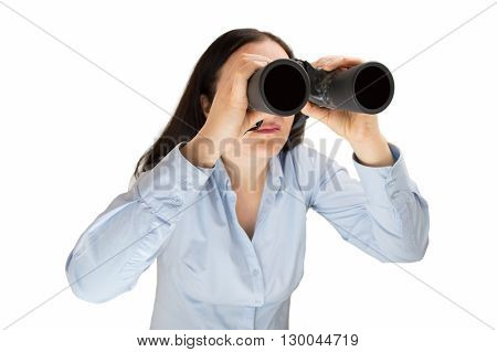 Pretty young woman entrepreneur looking through binoculars searching business and employment opportunities