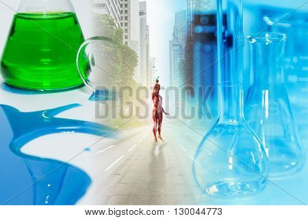 Scientist With Equipment And Science Experiments And Science Background.