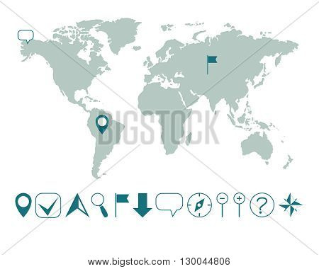 vector world map with various icons easy editable
