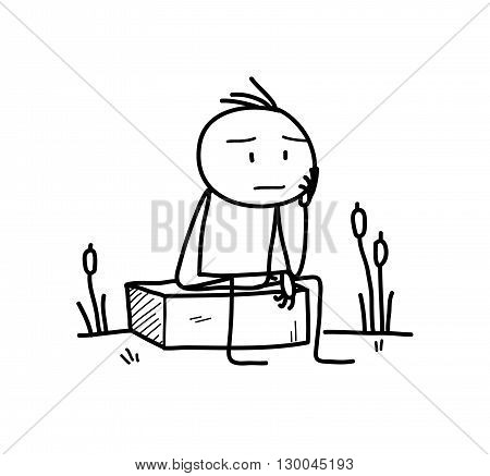 The Thinker, a hand drawn vector doodle illustration of a stick figure pondering about something.