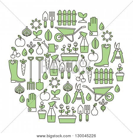 round design element with gardening icons