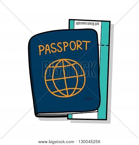 Passport, a hand drawn vector illustration of a passport and a plane ticket.