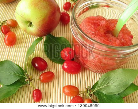 Homemade jam with fruits of cornel and apples