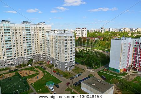 Moscow, Russia - May 13.2016. A Top view of the district 20 in Zelenograd summer