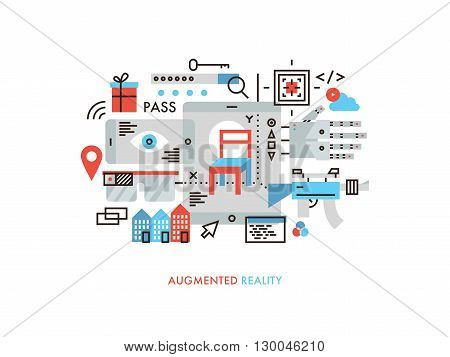 Thin line flat design of new technology of augmented reality world future gaming with virtual user interface visual communication. Modern vector illustration concept isolated on white background.