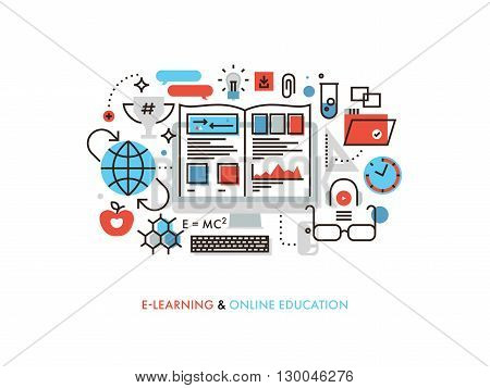 Thin line flat design of internet tutorial for self education professional retraining learning program study materials and equipment. Modern vector illustration concept isolated on white background.